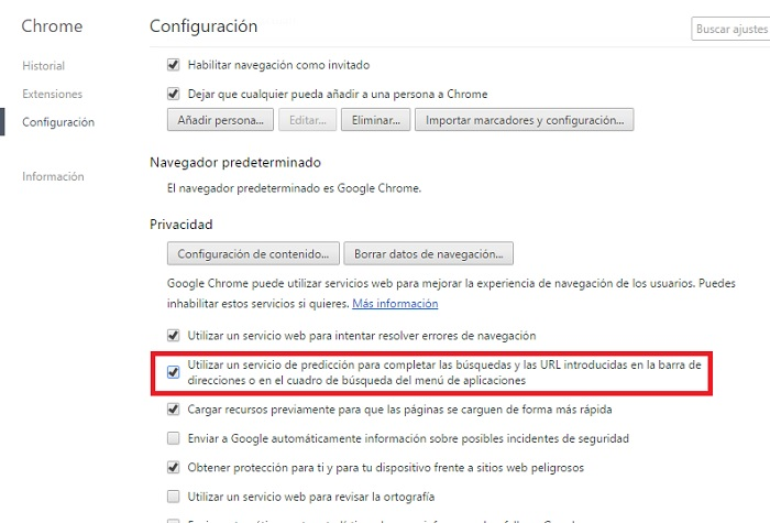 Configuracion Chrome