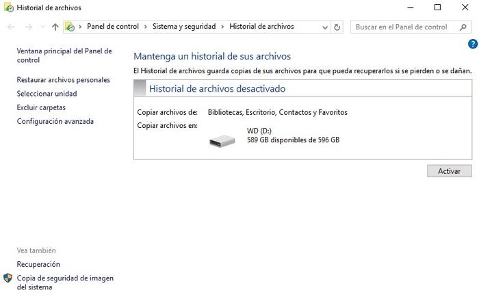 Historial de archivos Windows 10