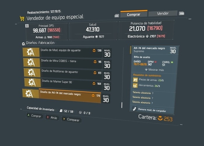 The Division vendedores