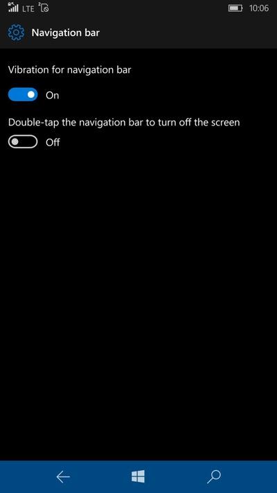 Barra de navegación Windows 10 Mobile Redstone