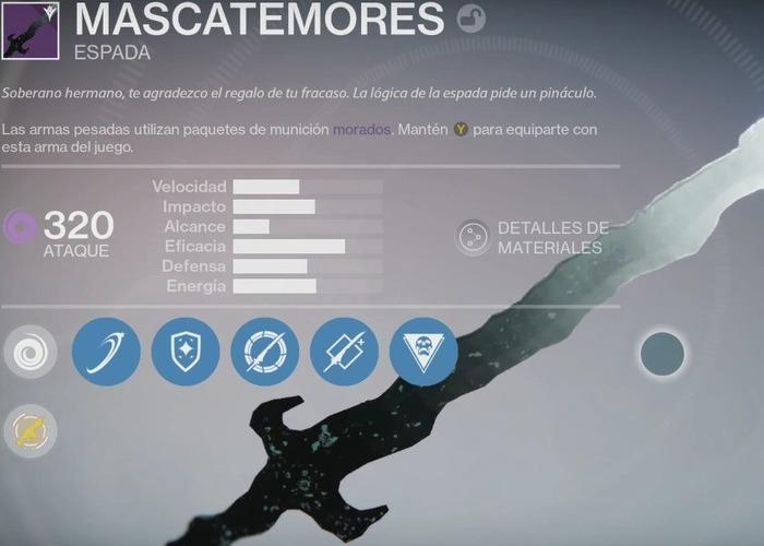 Destiny espada mascatemores