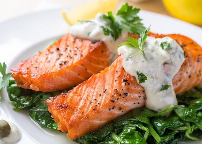Salmón con salsa verde