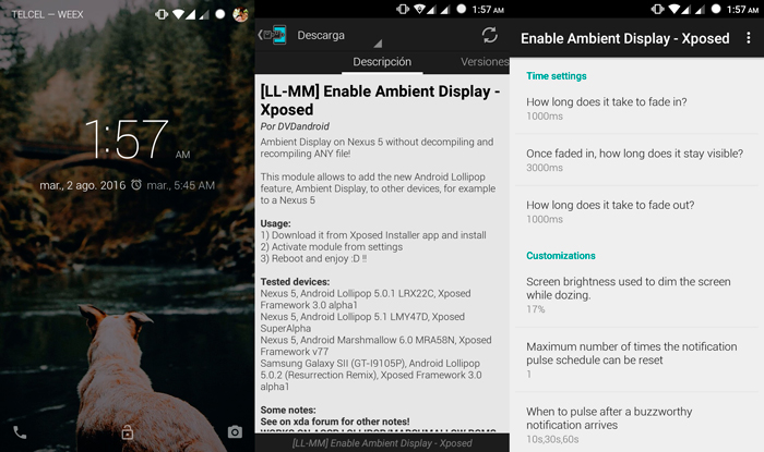 Enable Ambient Display Xposed Capturas