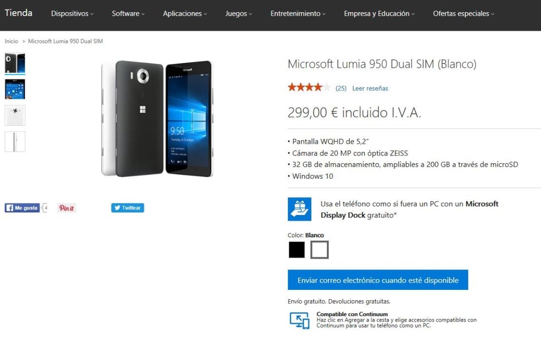 Captura de la tienda de Microsoft que muestra que no queda stock del Lumia 950