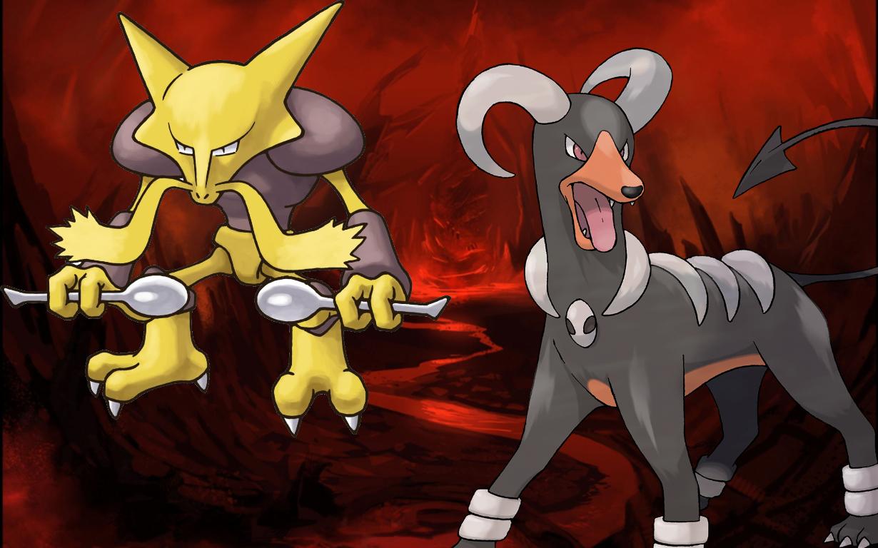 Si Halloween avait un Pokémon officiel, ce serait certainement cette fusion d'Alakazam et de Houndoom